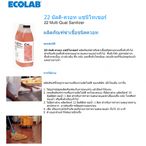 ECOLAB น้ำยาฆ่าเชื้อ 22 Multi-Quat Sanitizer 720 มล.
