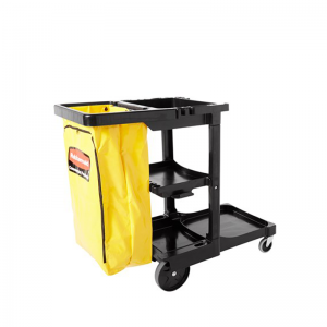 FG617388BLA JANITORIAL Cleaning Cart Traditional, Black With Yellow Vinyl Bag